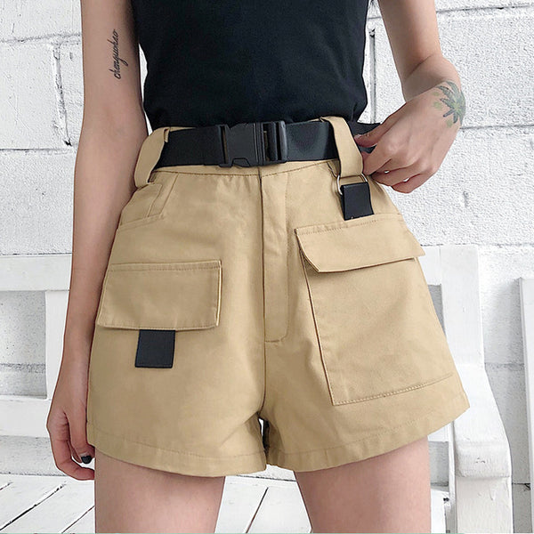 Summer Cargo Shorts Korean Fashion High Waist - BLACK, GREEN, KHAKI