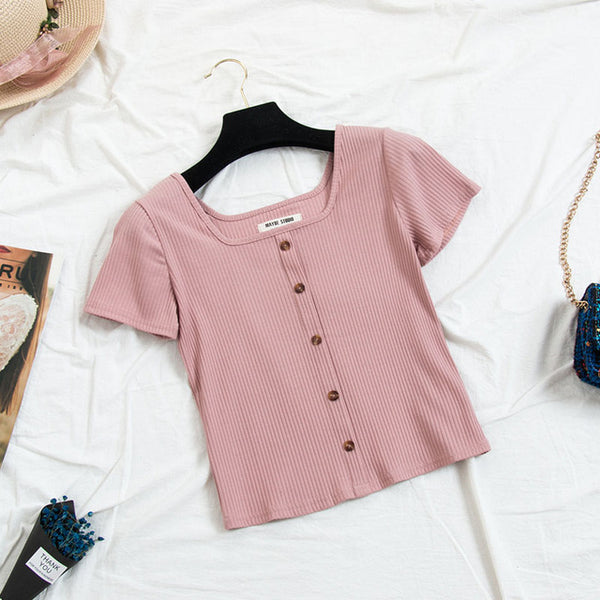 Cute Collar Knitting T-shirts
