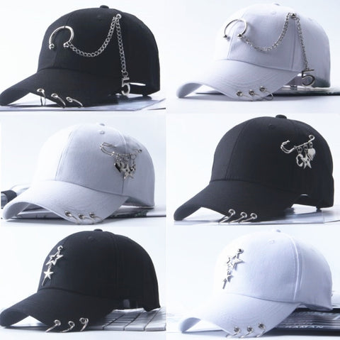 Punk Style Baseball Caps Hat With Metalish Pins - PINK, WHITE, BLACK