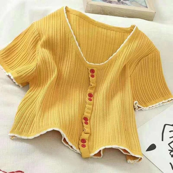 Cute Buttoned Up T-shirts - YELLOW, PINK, RED, WHITE, BLACK