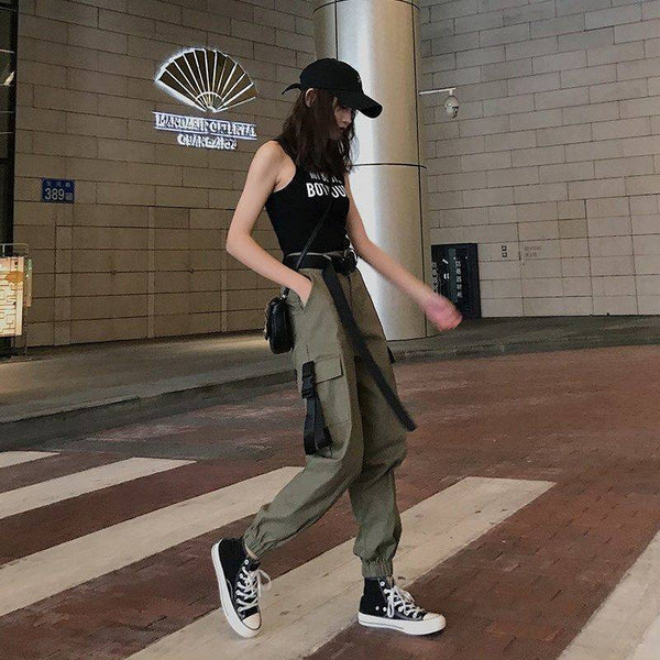 Harajuku Cargo Pants - GREEN/KHAKI/BLACK