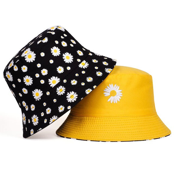 Double-sided Daisy Bucket Hats - BEIGE, YELLOW, WHITE, BLACK, PINK