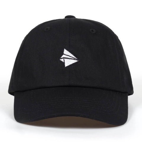 Paper Plane Baseball Cap Hat - WHITE, BLACK