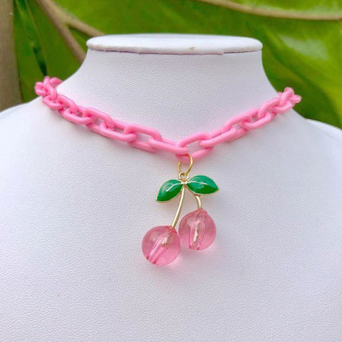 Pink Cherry Necklace