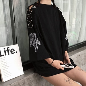 Korean Ring Loose T-Shirts BLACK/WHITE