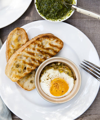 Shirred Farm Egg with Garlic Chive Pistou