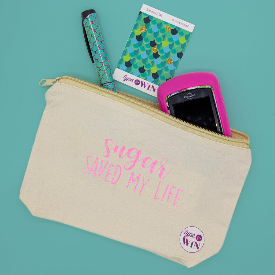 Diabetic Quotes Zipper Pouch: Natural