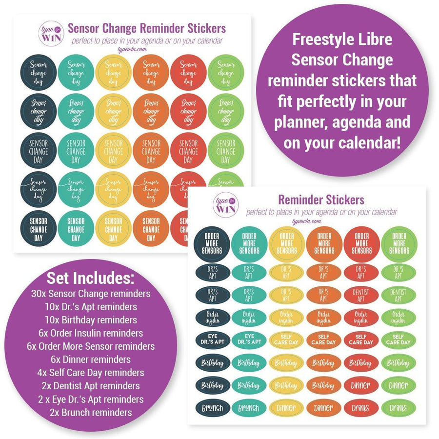 Freestyle Libre sensor change reminder stickers for agendas and planners
