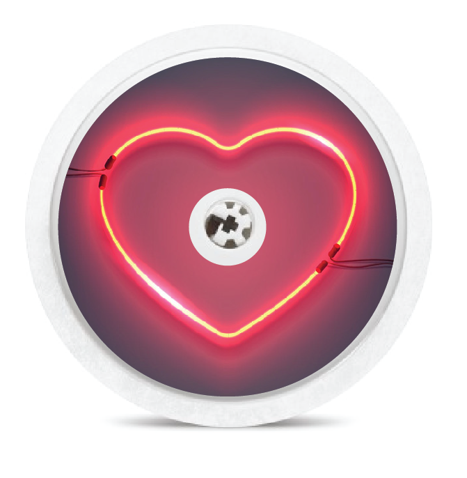Neon Heart Sign Freestyle Libre Sensor Sticker