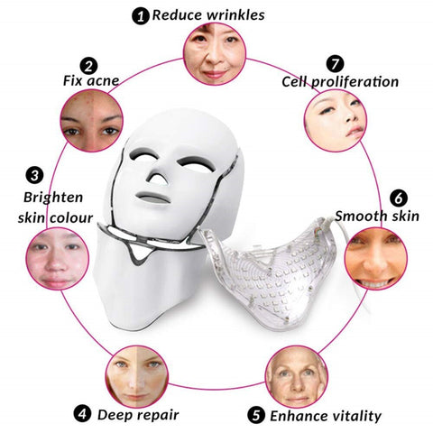 Dermashine Pro 7 Color LED Mask for Face | Photon Red Light For Healthy Skin Rejuvenation Therapy | Collagen, Anti Aging, Wrinkles