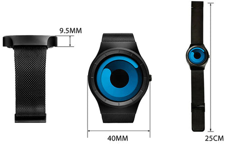 Astro Watch Earth Blue color-changing watch from Aliens Gear. Watch dimensions.