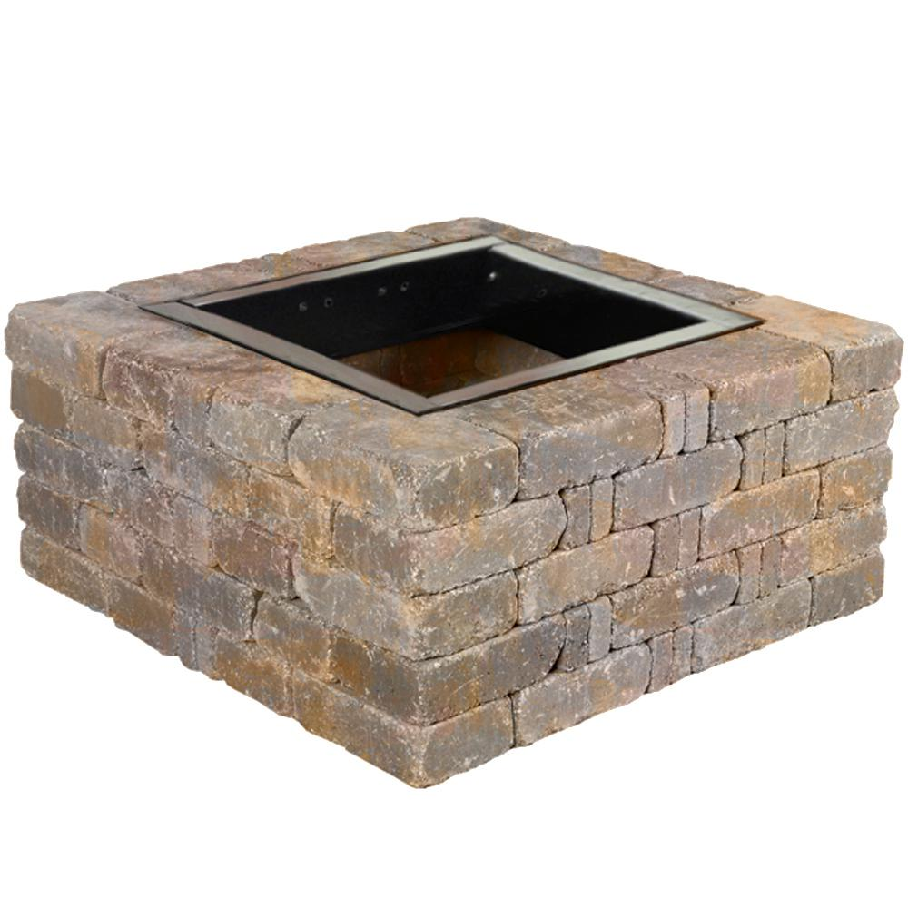 Pavestone Fire Pit Kit - Rumbewall Square 40x40 Earth Blend w/ Insert Firepit Kit Stones