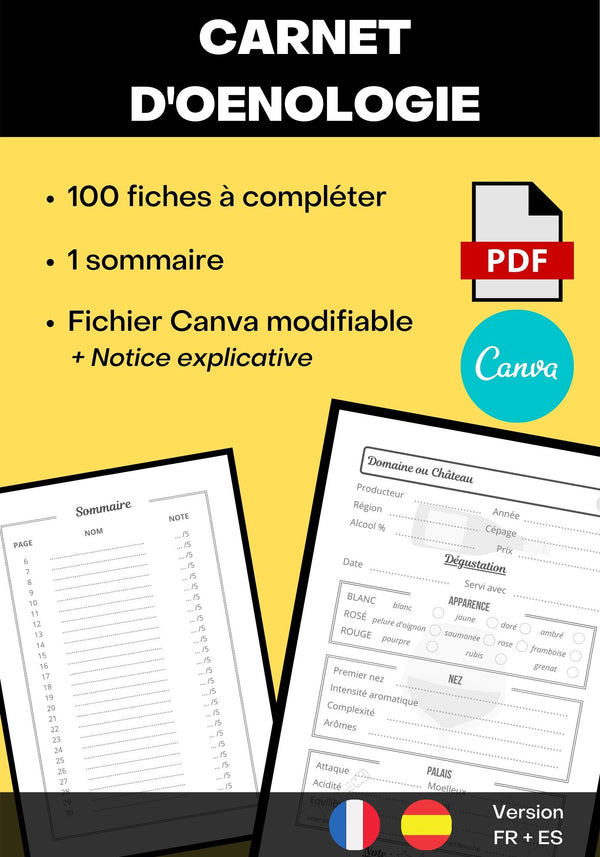 Carnet d'Oenologie 105 pages 7x10