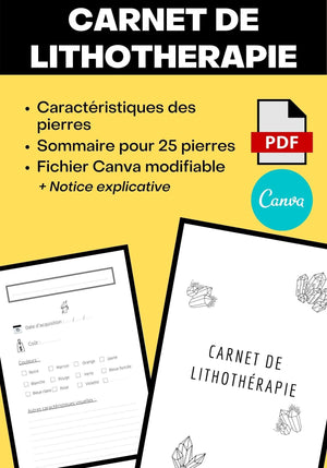 Carnet de Lithotherapie 103 pages 6x9