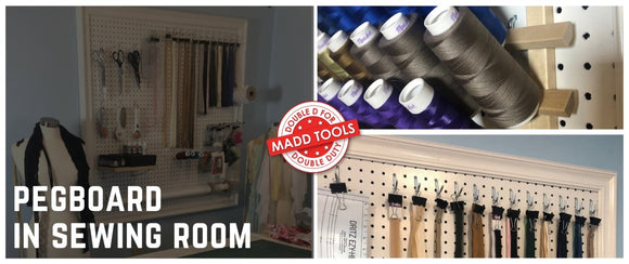 Using Pegboard In Your Sewing Room: 11 Next-Level Sewing Room Pegboard Ideas