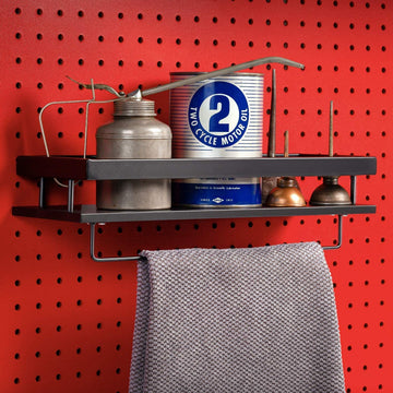 Pegboard Shelf with Towel Rod, Black Pegboard Accessories, Full Metal Pegboard Attachments