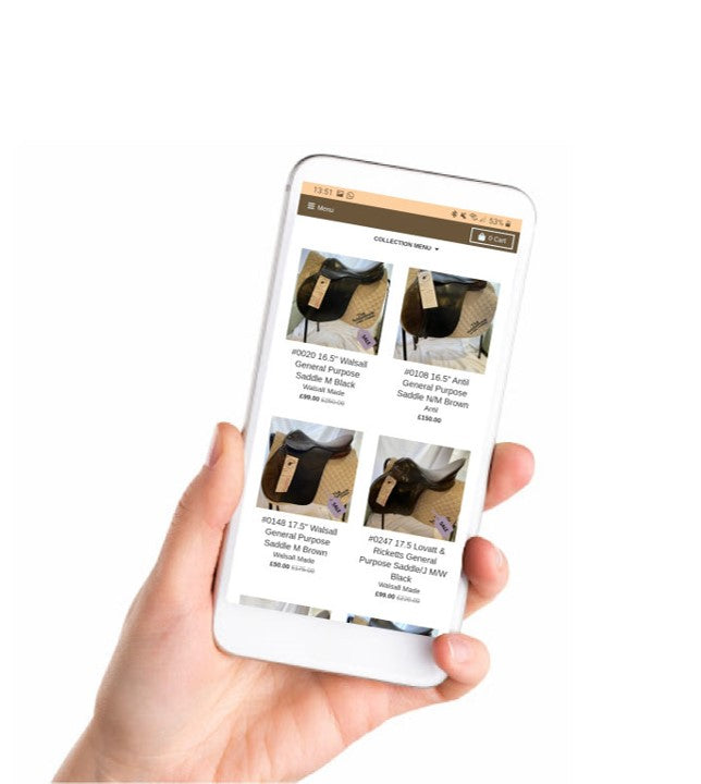 Sell Your Saddle With The SaddleShack. Hand holding a mobile phone displaying The SaddleShack website.