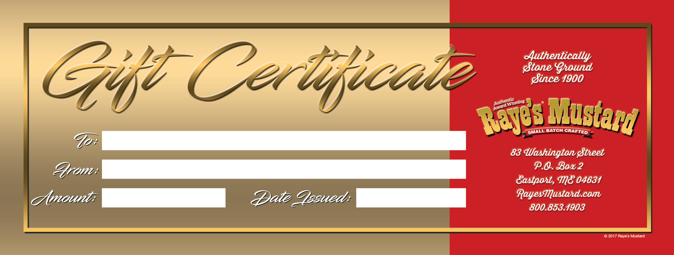 Gift certificate rayes mustard gift certificate 1betcityfo Gallery