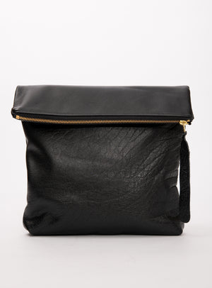 BORDEAUX leather clutch bag with crossbody strap