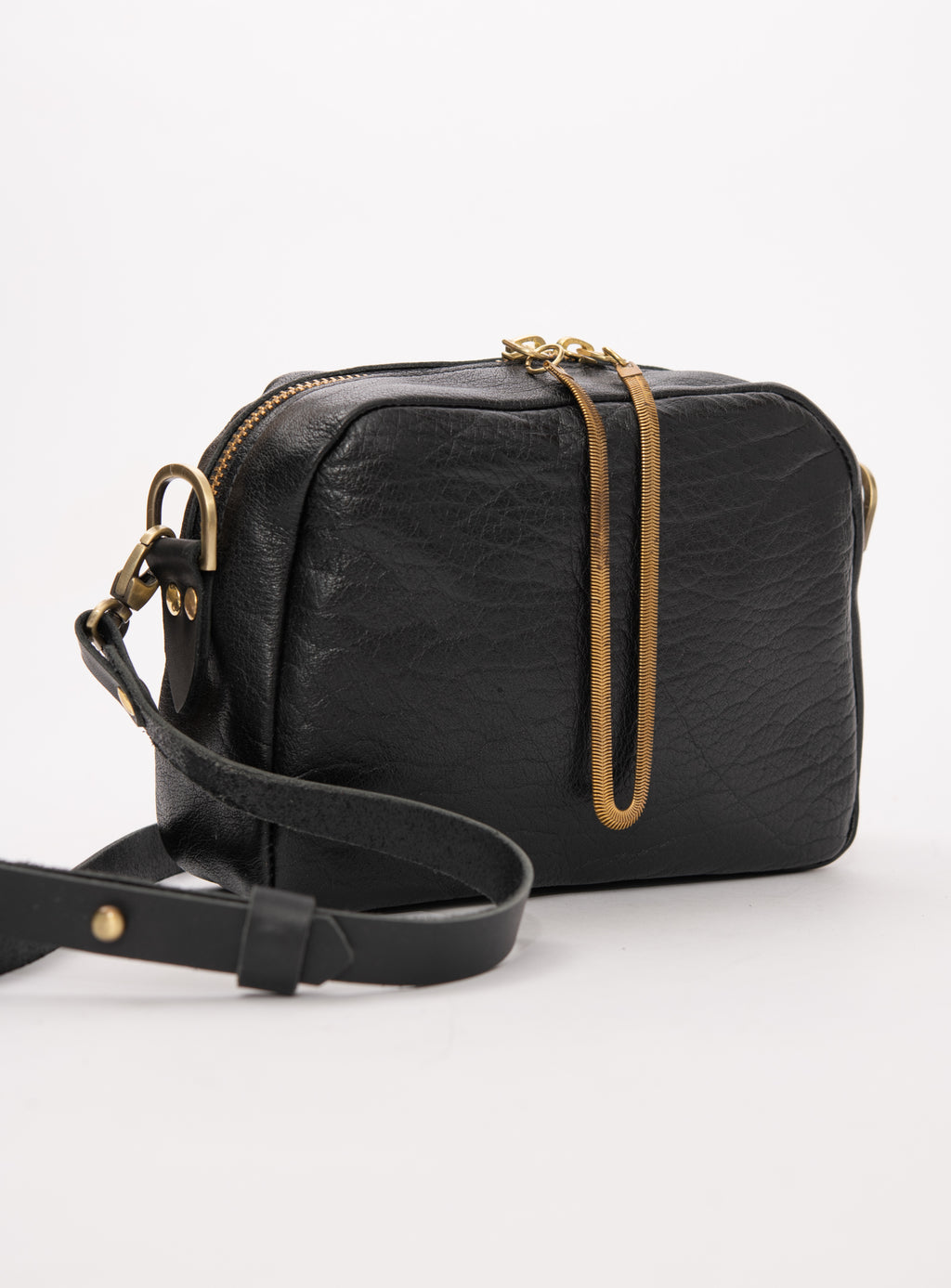 Veinage Cartier black leather crossbody bag