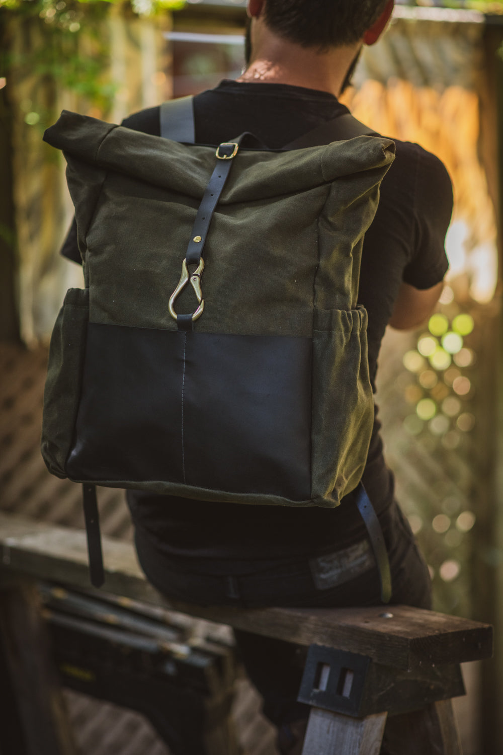 DE LORIMIER roll top leather and waxed coton backpack