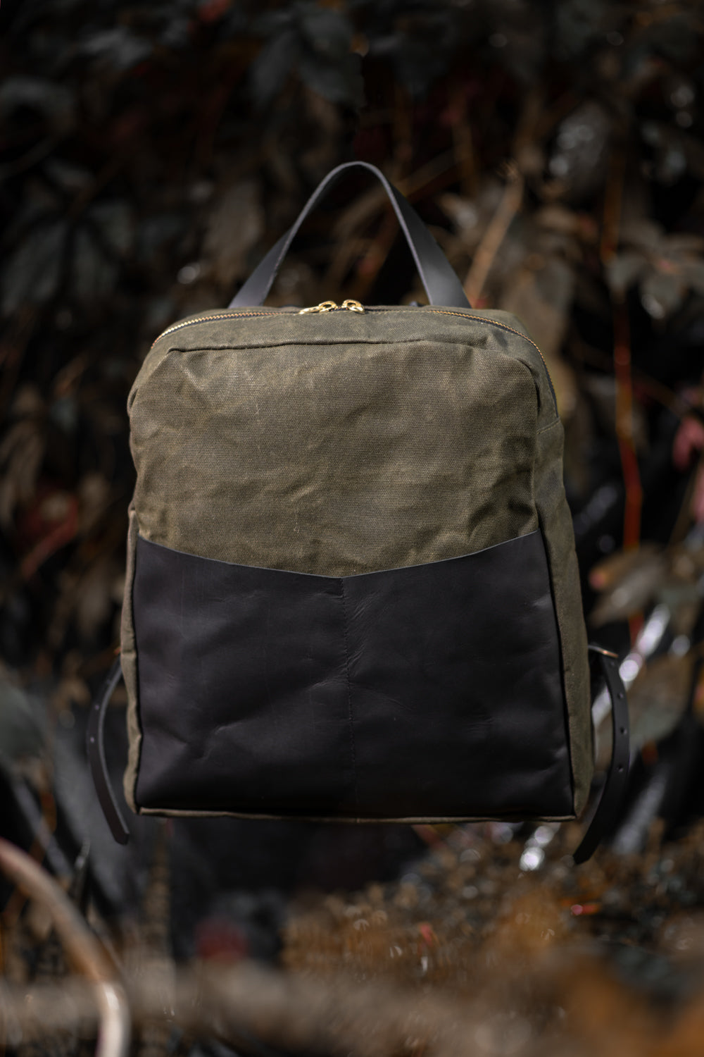 GILFORD leather and waxed canvas backpack