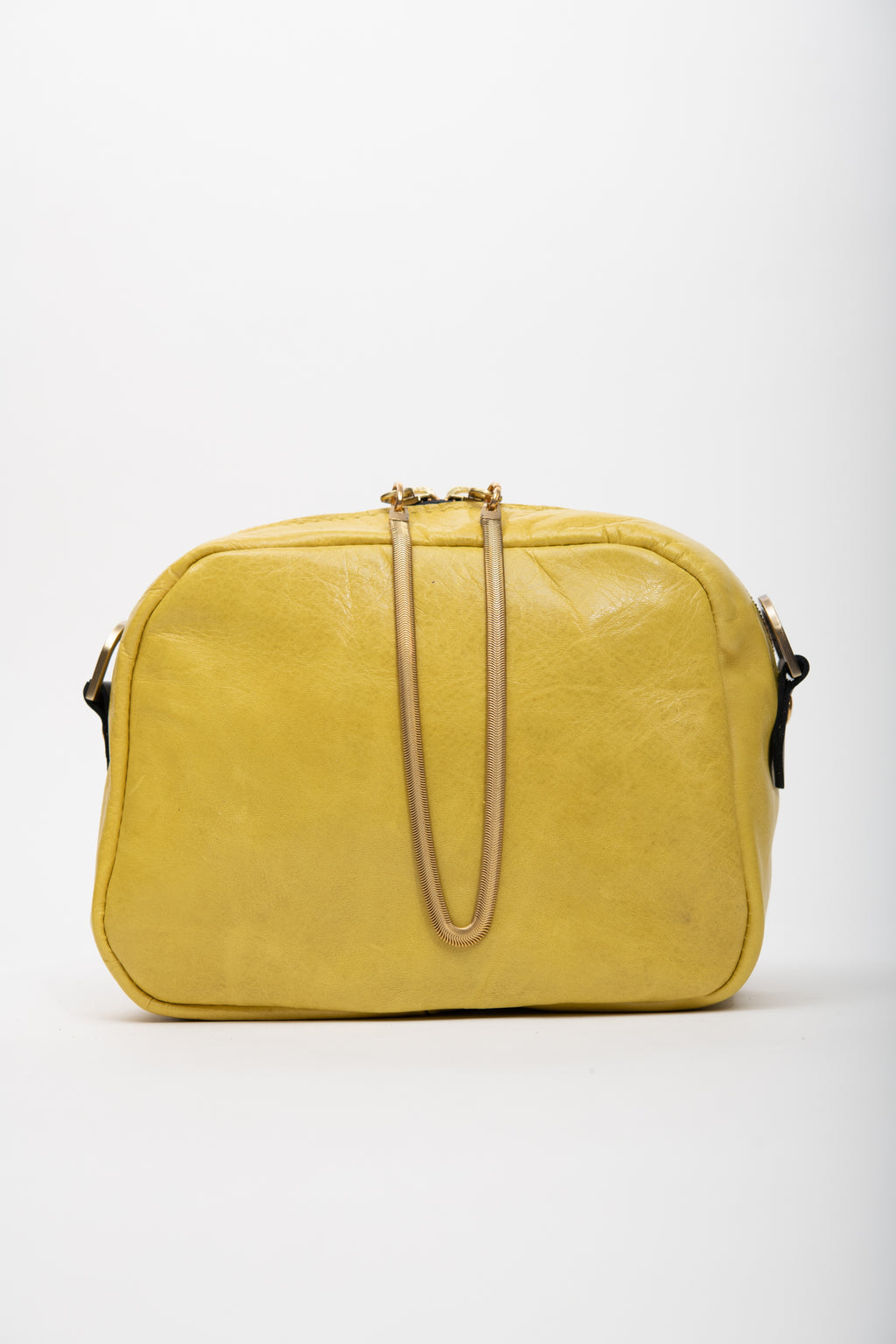 Veinage Yellow leather crossbody bag and brass charm CARTIER model