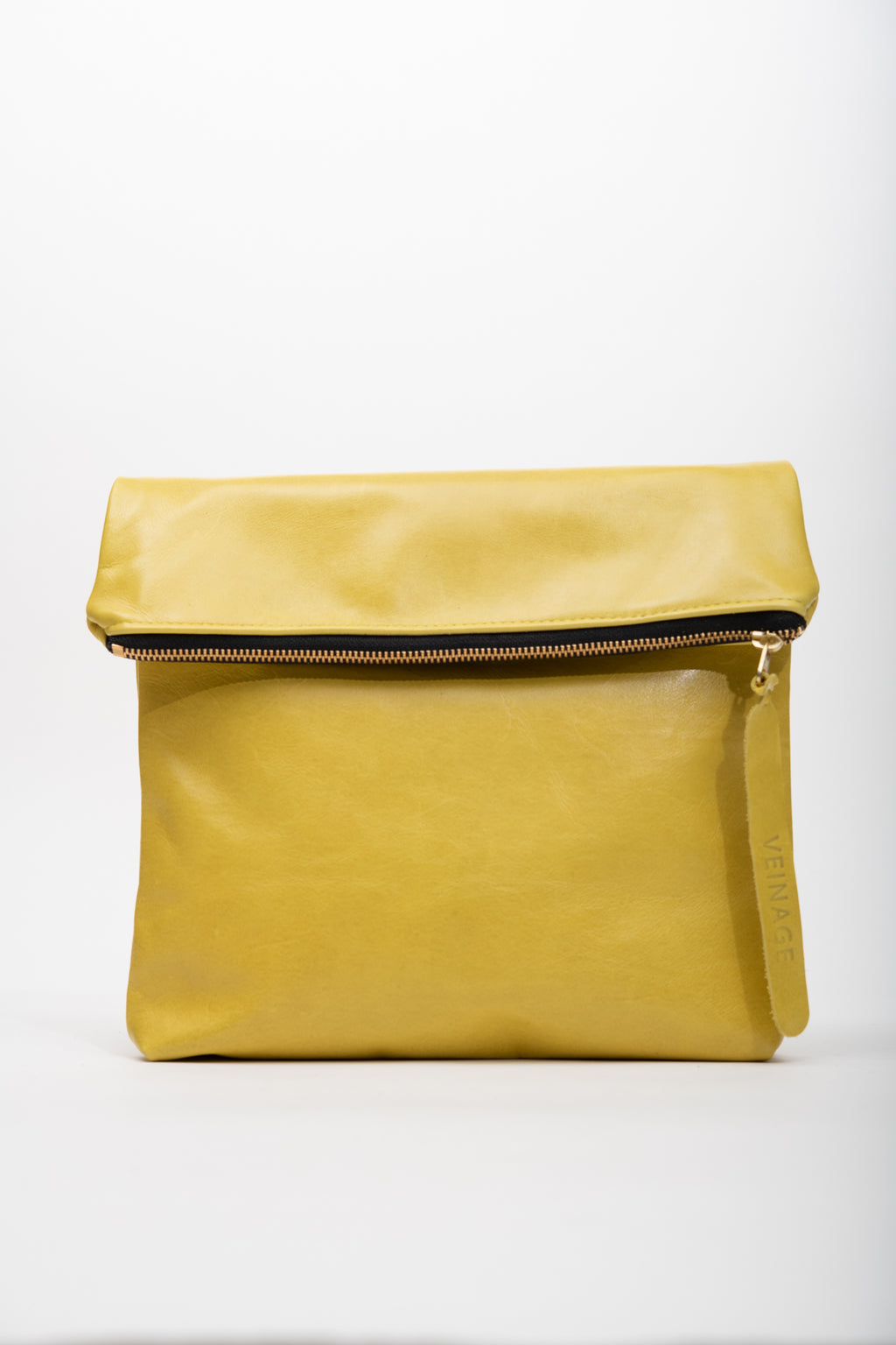 Veinage Yellow leather clutch bag with crossbody strap BORDEAUX model