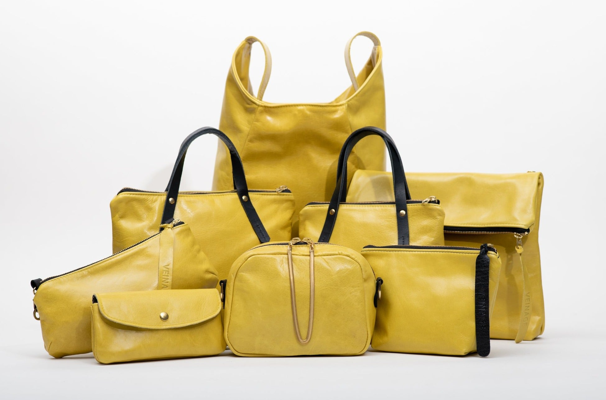 Geometrical yellow leather tote bag MONT-ROYAL model