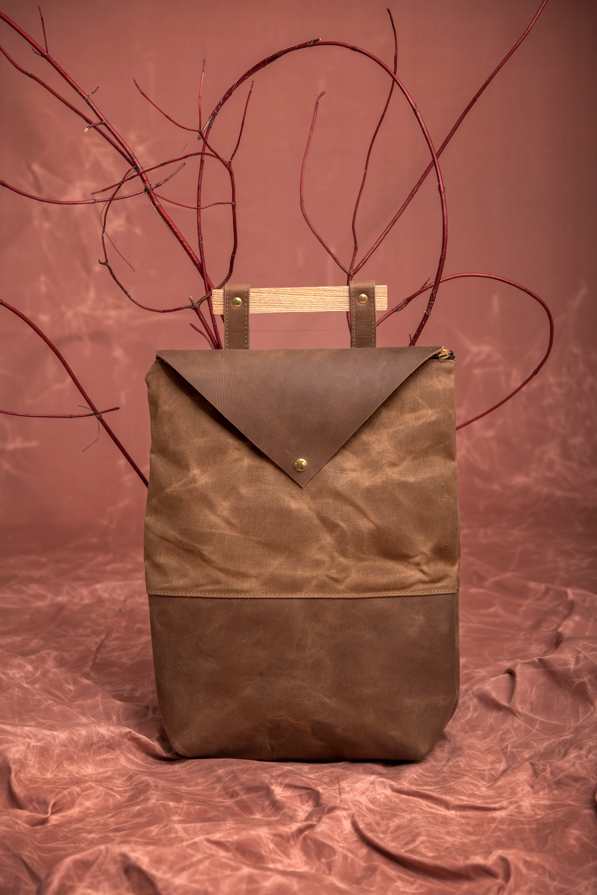 Veinage Fullum tan leather and waxed canvas backpack