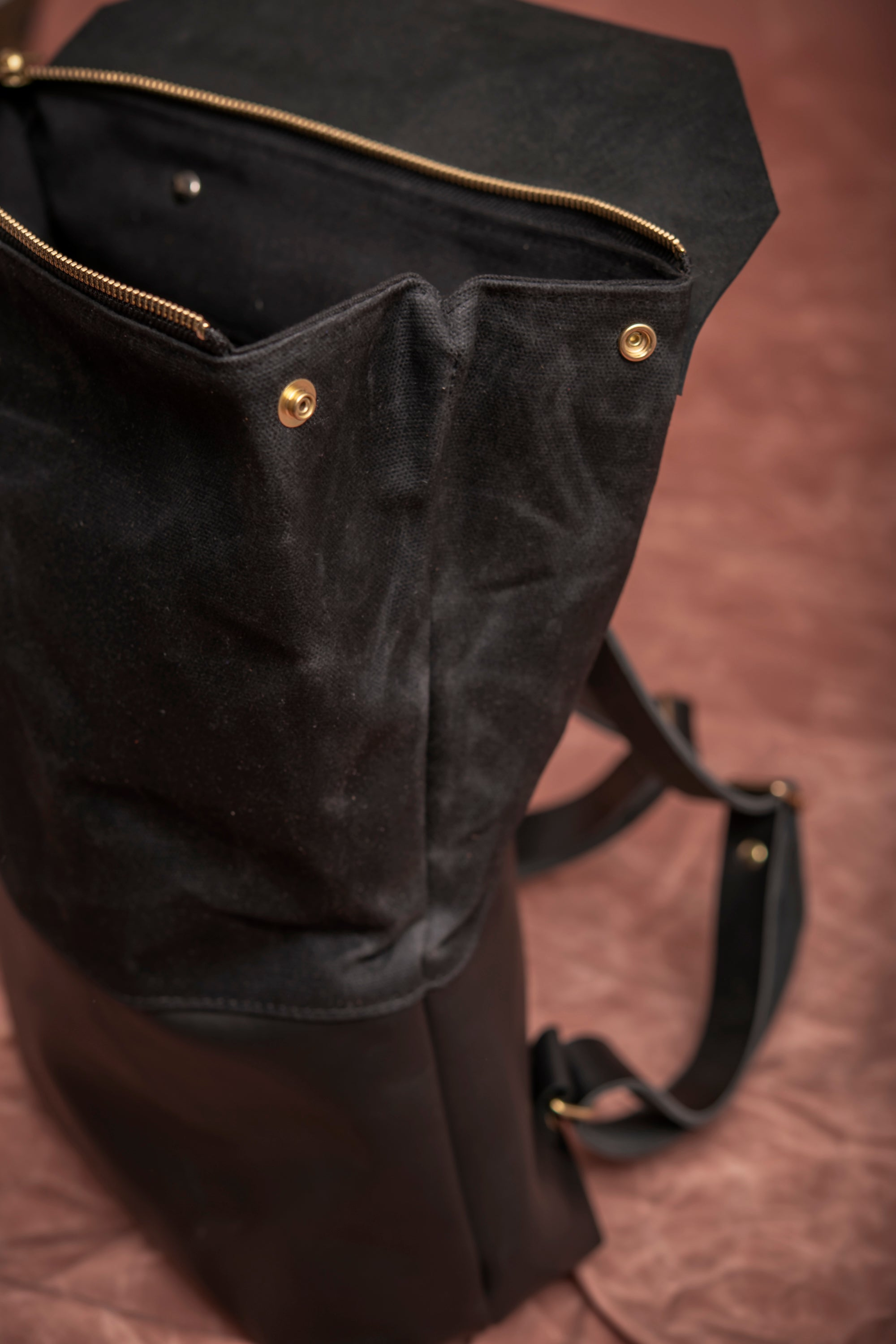 FULLUM leather and waxed canvas backpack