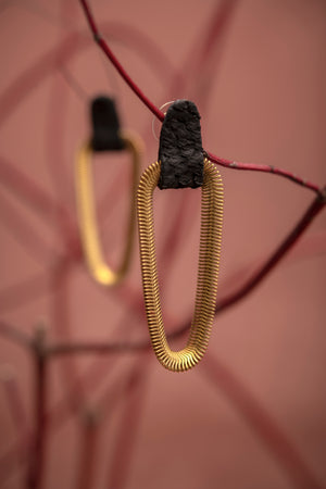 9e AVENUE statement leather and brass earrings