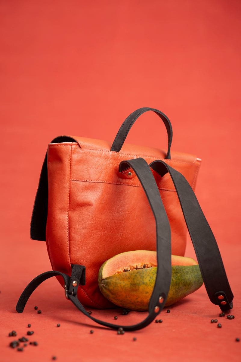 Leather backpack with wooden closure - Papaye