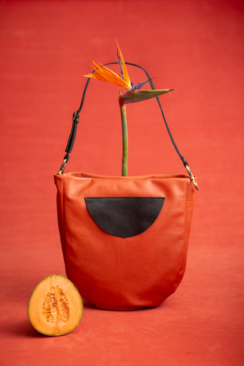 Leather tote bag - Melon