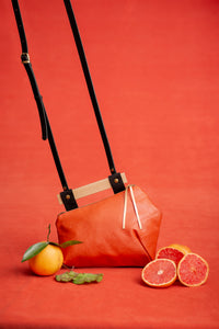 PAMPLEMOUSSE leather purse with wood handle and crossbody strap