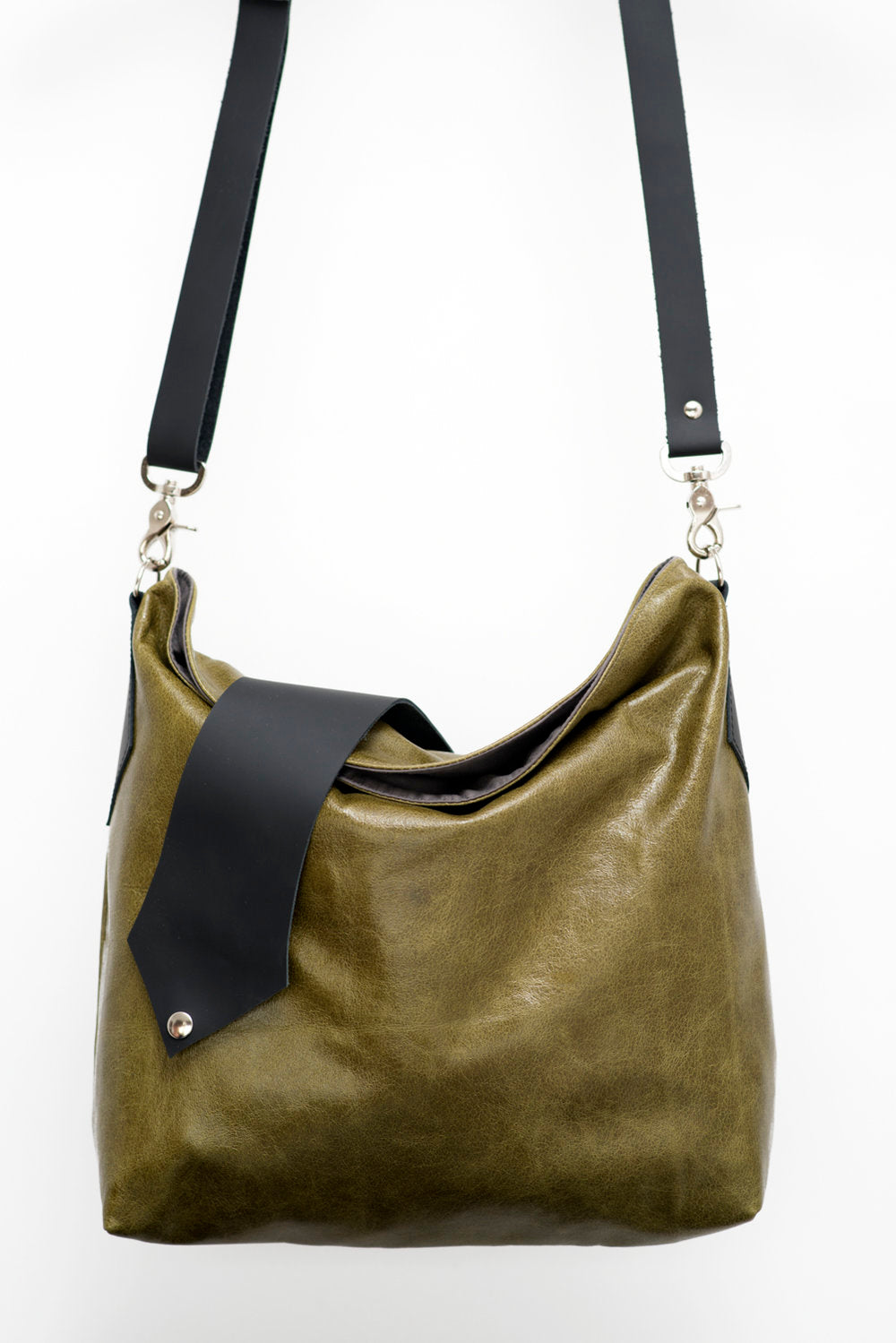 Leather crossbody bag - Grenat