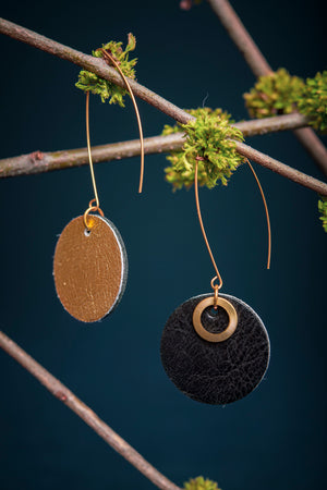 6e AVENUE leather and brass earrings