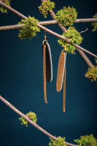 2e AVENUE leather and brass pendant earrings