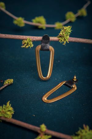 Leather and brass snake chain stud earrings - 9e avenue