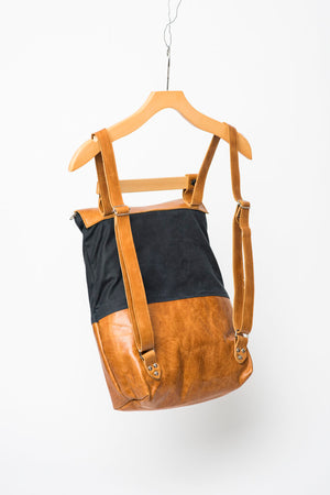 SILEX leather backpack with wood handle, laptop backpack