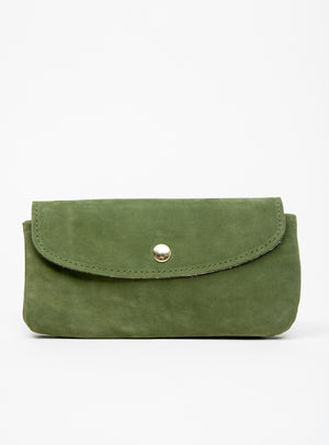 Veinage Minimalist green suede leather wallet MARQUETTE model