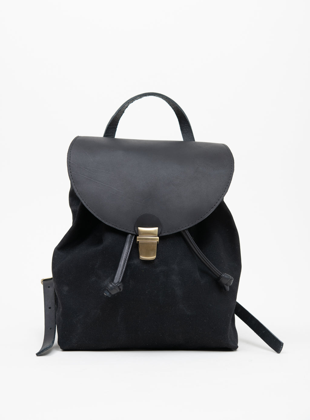 Veinage Leather and waxed coton rucksack MILAN model Small