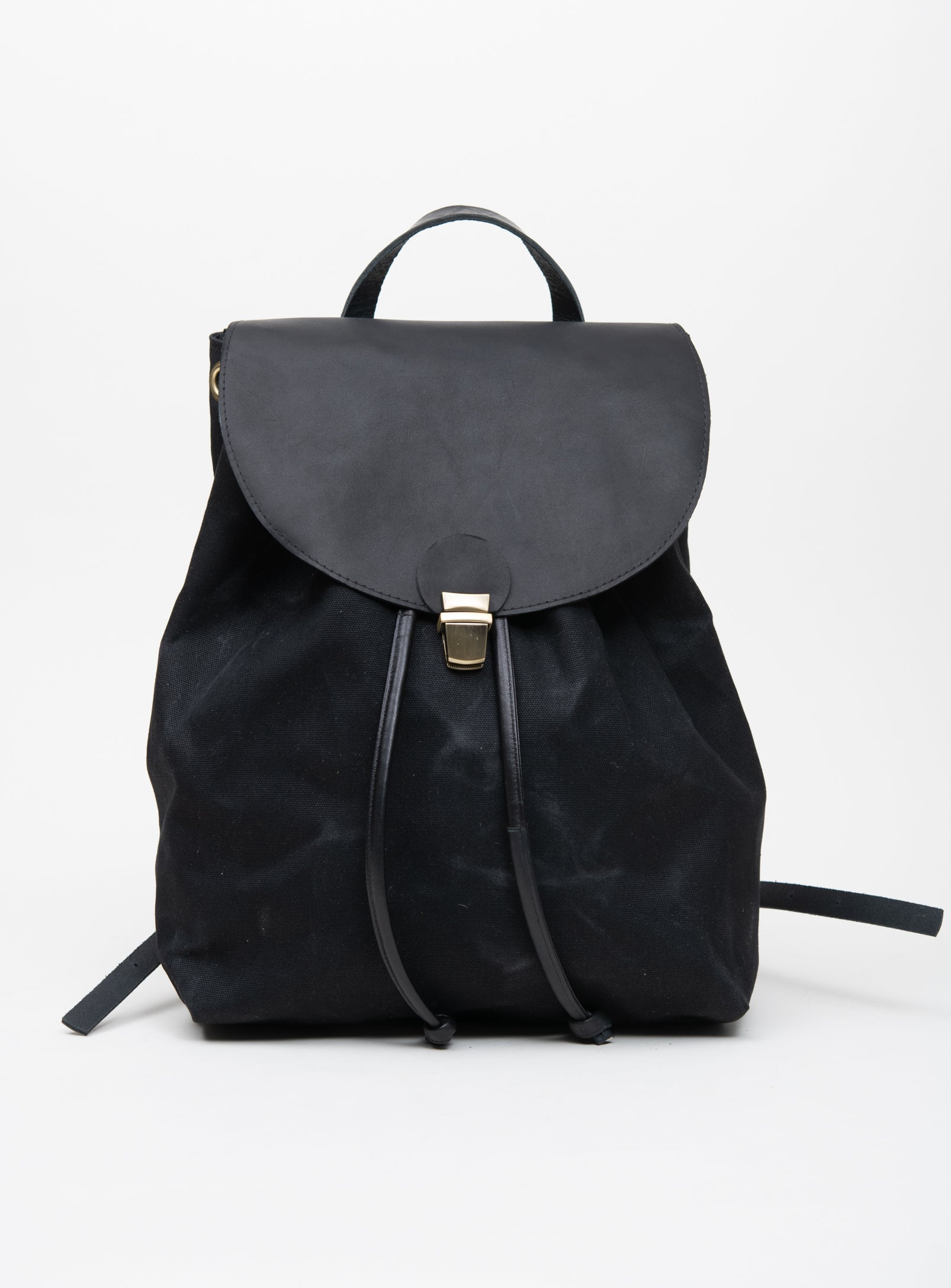 Veinage Leather and waxed coton rucksack MILAN model Large