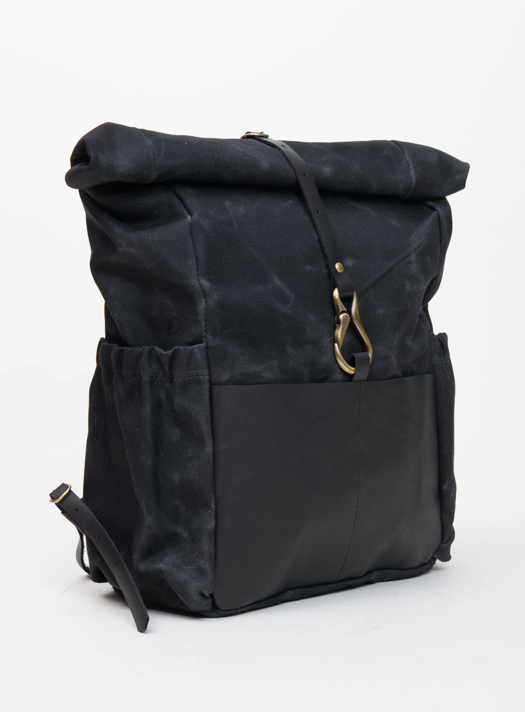 Veinage De Lorimier black leather and waxed canvas roll top backpack