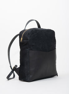 Veinage Gilford black leather and waxed canvas backpack