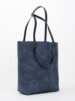 Veinage Molson blue leather minimalist tote bag