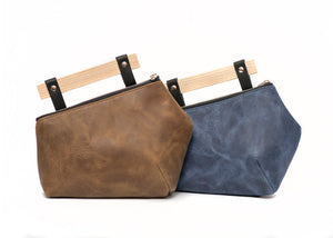 Leather crossbody bag with wood handle - Fraxinus 1
