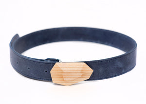FRAXINUS 7 leather belt and wood buckle