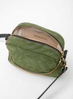 Veinage Suede leather crossbody bag and brass charm CARTIER model