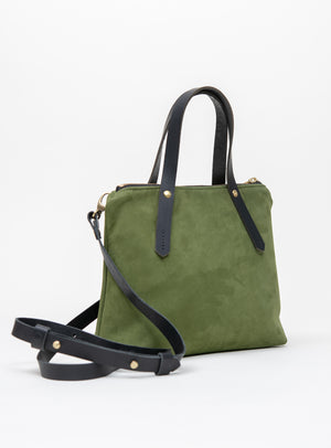 Veinage Suede leather handbag with crossbody strap PAPINEAU model
